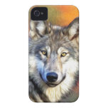 Grey Wolf Art Painting Case-Mate iPhone 4 Cases