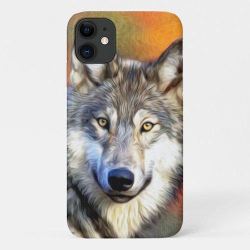 Grey Wolf Art Painting Phone Case