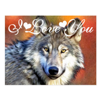 Grey Wolf Art Painting Photo Image I Love You Postcard