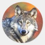 Grey Wolf Art Painting Round Sticker
