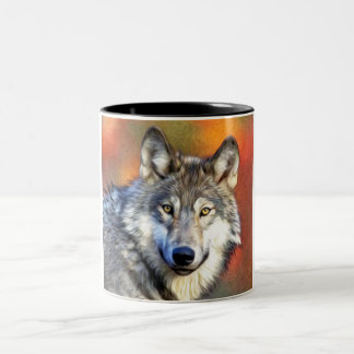 Grey Wolf Art Painting Two-Tone Coffee Mug