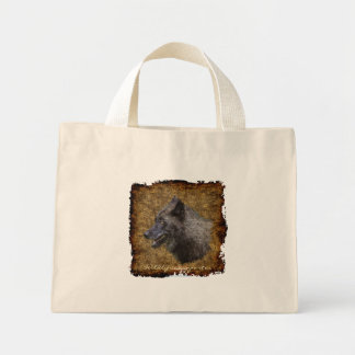 Grey Wolf Art Portrait Carry-Bag Collection Mini Tote Bag