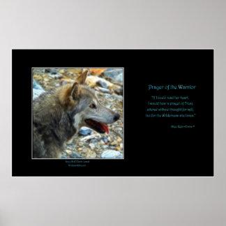 GREY WOLF Art Poster & Wilderness Poem