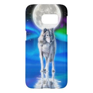 Grey Wolf & Aurora Arctic Wildlife Scene Samsung Galaxy S7 Case