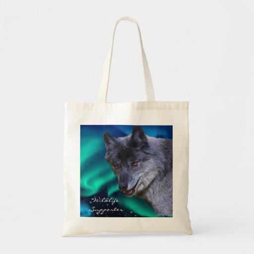 Grey Wolf & Aurora Wildlife Supporter Tote Bag
