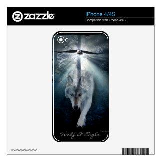 Grey Wolf & Bald Eagle Wildlife Art iPhone 4 Skin