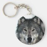 Grey Wolf Basic Round Button Keychain