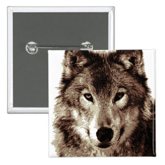 Grey Wolf Pinback Buttons