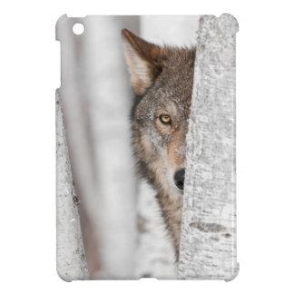 Grey Wolf (Canis lupus) Behind Tree iPad Mini Covers