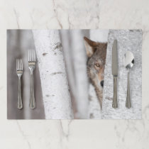 Grey Wolf (Canis lupus) Behind Tree Paper Placemat