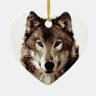 Grey Wolf Ceramic Ornament