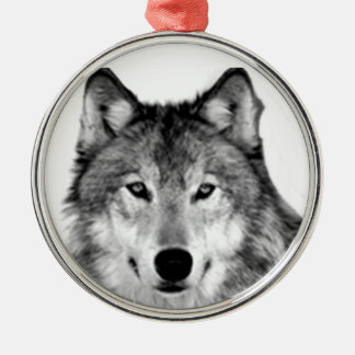 GREY WOLF CHRISTMAS ORNAMENT