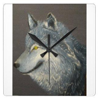 Grey wolf clock. square wallclock