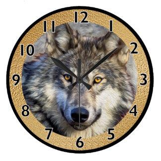 Grey Wolf Wallclock
