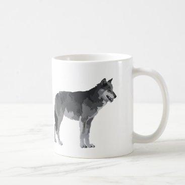 Coffee Themed Grey Wolf Coffee Mug