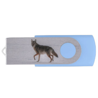 Grey Wolf Crossing Frozen Lake 2 #Gift Swivel USB 2.0 Flash Drive