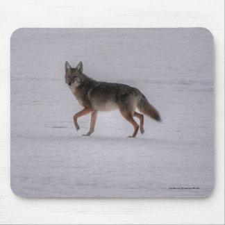 Grey Wolf Crossing Frozen Lake #Gift Mousepad