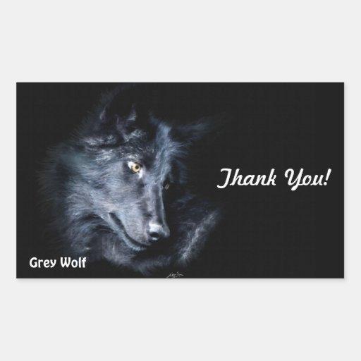 GREY WOLF CUB Thank You Stickers
