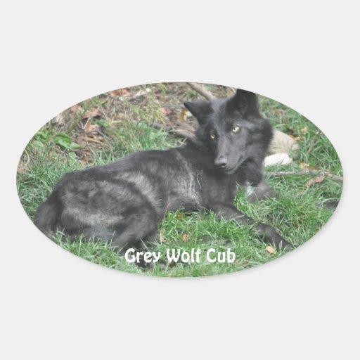 GREY WOLF CUB Wildlife Supporter Stickers