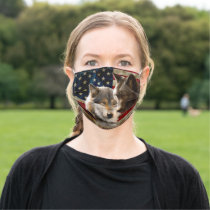 Grey wolf - dark wolf - american flag adult cloth face mask