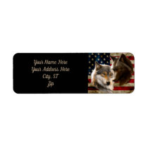 Grey wolf - dark wolf - american flag label