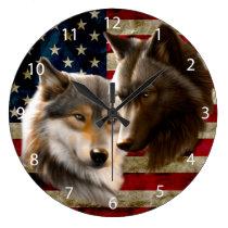 Grey wolf - dark wolf - american flag large clock