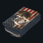 """Grey wolf - dark wolf - american flag wallet<br><div class=""""desc"""">black wolf, wolf art, american wolf , brown wolf, two wolves, wolf painting , head wolf , wildlife creature canis animals , wolves lupus face grey , wolves nature arctic arctic</div>"""