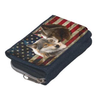 Grey wolf - dark wolf - american flag wallet