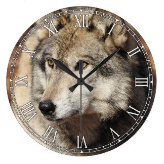 Grey Wolf Decorative Wall Clock