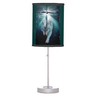 Grey Wolf & Eagle Forest Mist Wildlife Art Table Lamp