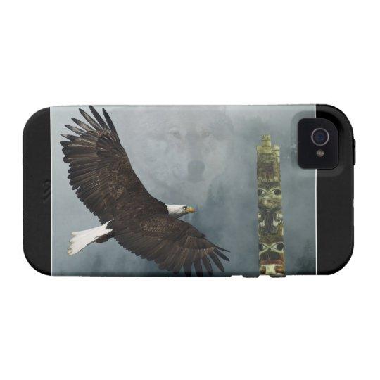 Grey Wolf, Eagle & Haida Totem Pole Native Art iPhone 4 Cover