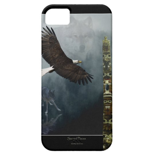 Grey Wolf, Eagle & Haida Totem Pole Native Art iPhone SE/5/5s Case