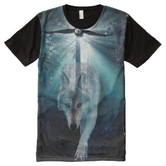 Grey Wolf & Eagle in Forest Wildlife Theme All-Over Print T-shirt