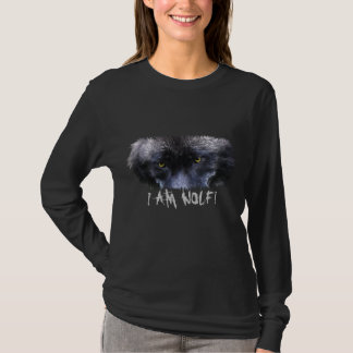 """GREY WOLF EYES """"I Am Wolf"""" Wildlife Art T-Shirt"""