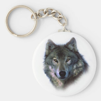 Grey Wolf Eyes Keychain
