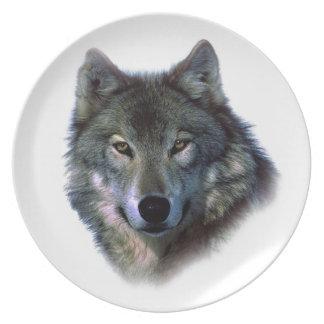 Grey Wolf Eyes Melamine Plate