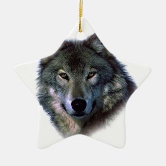 Grey Wolf Eyes Double-Sided Star Ceramic Christmas Ornament