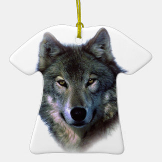 Grey Wolf Eyes Double-Sided T-Shirt Ceramic Christmas Ornament