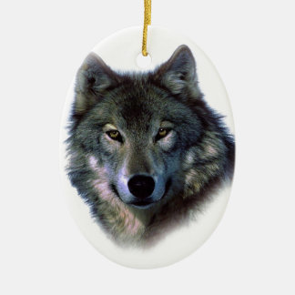 Grey Wolf Eyes Double-Sided Oval Ceramic Christmas Ornament