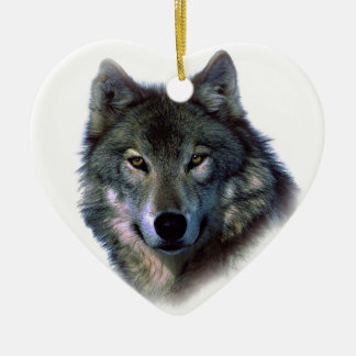 Grey Wolf Eyes Double-Sided Heart Ceramic Christmas Ornament