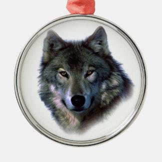 Grey Wolf Eyes Round Metal Christmas Ornament