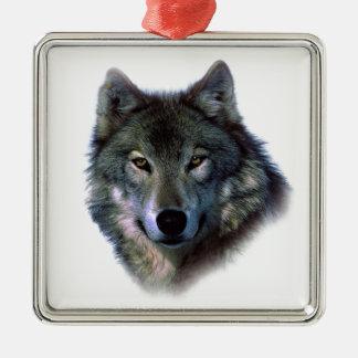 Grey Wolf Eyes Square Metal Christmas Ornament