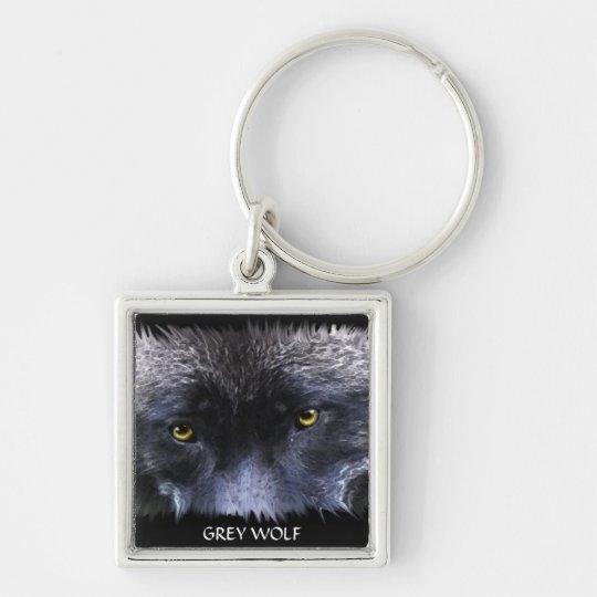 GREY WOLF EYES Wildlife Art Key-Ring Keychain