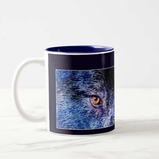 Grey Wolf Eyes Wildlife Art Two-Tone Coffee Mug