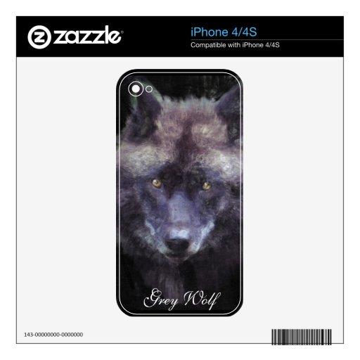 Grey Wolf Face Wildlife Art iPhone 4 Skin