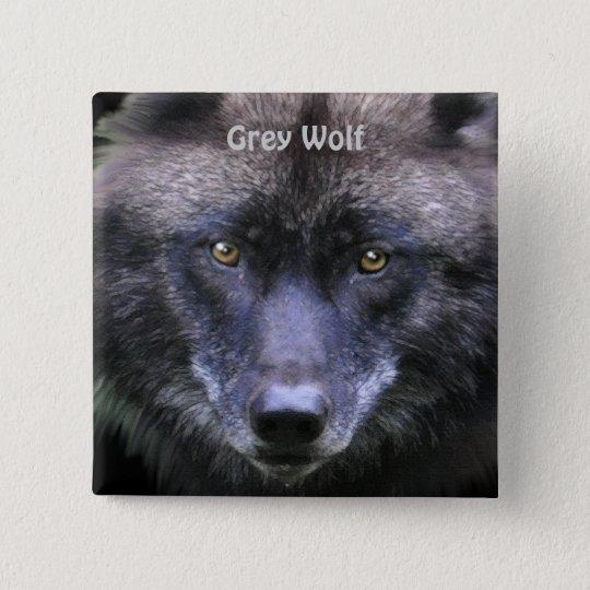 Grey Wolf Face Wildlife-lover Pinback Button