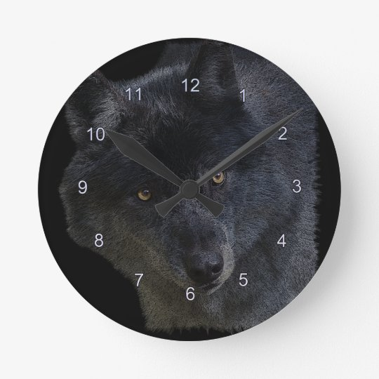 Grey Wolf Face Wildlife-Supporter Art Clock
