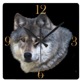 Grey Wolf Face Wildlife-Supporter Art Clock