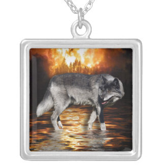 Grey Wolf Fire Flames Necklace
