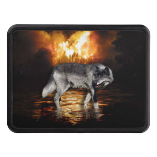 Grey Wolf Fire Flames Survivor Hitch Covers